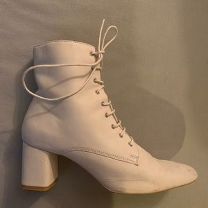 Mango Shoes | White Lace Up Booties